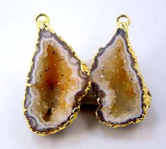 Geode Half Occo Druzy Crystal Pendant PAIR Dipped in 24k Electroplated Gold -- (G-336)