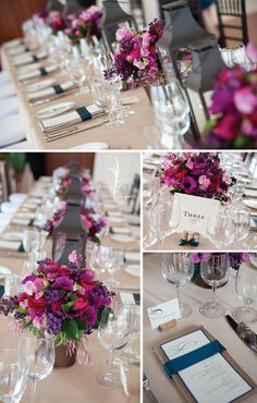 Love the colours of mixed bouquets, lanterns, menu cards/ribbon