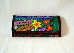 Guatemala  Handmade Embroidered Wallet  Black Floral by PIDcrafts