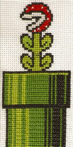 Pirahna Plant Cross Stitch by ~magentafreak