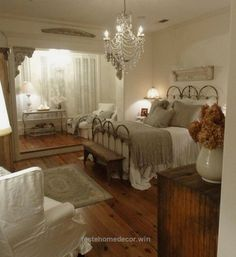 Lovely I love gray, white bedrooms… and absolutely love chandeliers in the bedroom! These floors are great too! The post I love gray, white bedrooms… and absolutely love chandeliers in the b ..