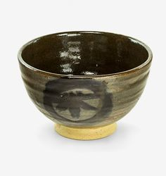 Hamada Shoji | Stoneware chawan (tea bowl), tenmoku glaze and black brushwork, with signed wood box and fitted external carrier box. Provenance: Originally gifted to an American Admiral; Gary Winther Collection