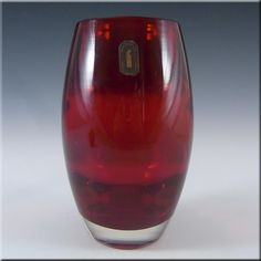 Whitefriars/Baxter Ruby Red Glass Ovoid Vase #9587 - £30.00