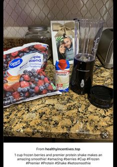 cup frozen berries and premier protein shake makes an amazing smoothie! - 1 cup frozen berries and premier protein shake makes an amazing smoothie! cup frozen berries and premier protein shake makes an amazing. Premier Protein Shakes, Best Protein Shakes, Protein Shake Recipes, Healthy Shakes, Healthy Drinks, Yummy Drinks, Healthy Meals, Healthy Recipes, Protein Smoothies