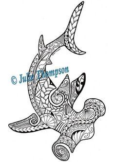 Tribal Hammerhead Shark Hand Drawn Printable Coloring Page