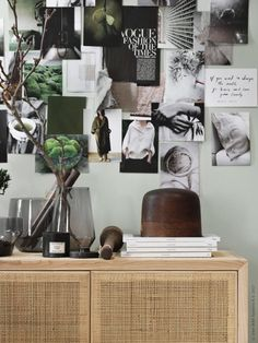 I like this green harmony styling by Pella Hedeby for Ikea Livet Hemma. She combined tints of green grey with natural wood colors, beige and black for a soft spring look. I like this new Ratan Stockho