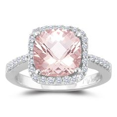 0.33 Cts Diamond & 1.62 Cts Morganite Ring in 14K White Gold(352132)