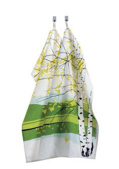 Marimekko 'Kaiku' tea towel set of two [2] in bright green, lime green, pale blue and white