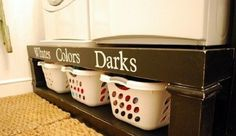 Storage Labels for Laundry Room- Vinyl Lettering Decal Organization - DIY Furniture Plans Easy Diy Projects, Home Projects, Washer And Dryer Pedestal, Laundry Pedestal, Wood Pedestal, Laundry Room Organization, Laundry Storage, Laundry Organizer, Laundry Rooms