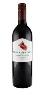 2012 Cedar Springs Cabernet Sauvignon  Winemaker's Notes: Light garnet in color with notes of red raspberry and blackberry on the nose.  This wine is easy-drinking and great for friends and family alike.  Suggested pairings include grilled chicken, pork roast, or just on its own. Was $9.99, ON SALE $7.99