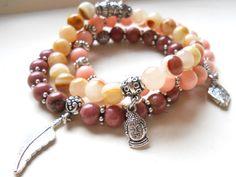 3 yoga bracelets stacking bracelets buddha bracelet boho bracelet gypsy style bracelet gemstone bracelet stone yoga bracelet  M