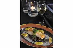Grilled wild salmon on French lentils with salsa verde