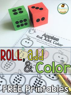 Apples - Roll, Add, Color free printable pages!
