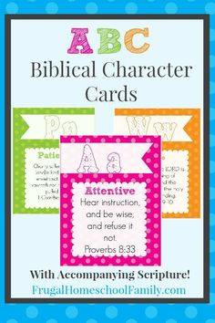 ABC Biblical Character Cards {FREE!} - Frugal Homeschool Family