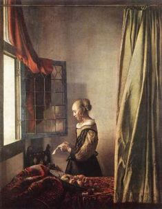 """A girl reading a letter by an open window"" (c. 1657 - By Johannes Vermeer, from Delft, Netherlands - - oil on canvas; 83 x cm; 32 x 25 in - © Gemäldegalerie Alte Meister, Dresden, Germany Johannes Vermeer, Rembrandt, Girl Reading, Vermeer Paintings, Oil Paintings, Realistic Paintings, Google Art Project, Dutch Golden Age, Dutch Painters"