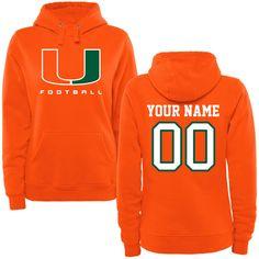 Miami Hurricanes Fanatics Branded Women's Personalized Football Pullover Hoodie - Orange