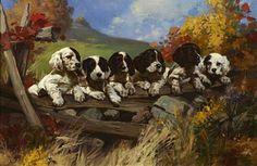 Bonhams New York-Six puppies on a fence   Hintermeister