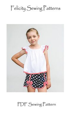 Gidget Shorts girl's pdf shorts pattern by Felicity Sewing Patterns, children's sewing pattern to fit girls 2 to 14 years.