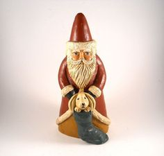 Red Clay Vintage Santa Clause with dog in pouch by MissPattisAttic