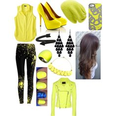 """""""Black and yellow! ;)"""" by hayleycavanaugh on Polyvore"""