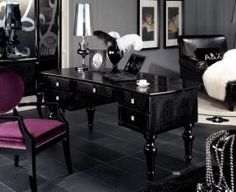 Check-out the A and X Manor Modern Office Desk in black color. The transitional style of this Office Desk is far from the traditional desks seen in the typical office. Mesa Home Office, Home Office Computer Desk, Modern Office Desk, Contemporary Office, Home Office Furniture, Cool Furniture, Corner Furniture, Office Workspace, Office Table