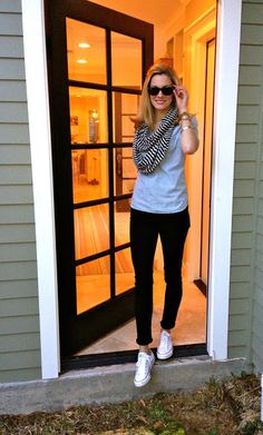 jcrew top, citizens jeggins, converse shoes and cool scarf. Throw in an army jacket and it's perfect for fall.