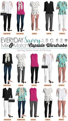 New JCPenney Capsule Wardrobe for Spring. This capsule is fun and includes floral, stripes and pops of color. Great outfits for every day and date night. #capsulewardrobe #springstyle
