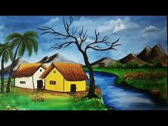 Ideas For Painting Nature Scenery Scenery Drawing For Kids, Art Drawings For Kids, Painting For Kids, Scenary Paintings, Nature Paintings, Landscape Paintings, Acrylic Paintings, Oil Pastel Colours, Oil Pastel Drawings