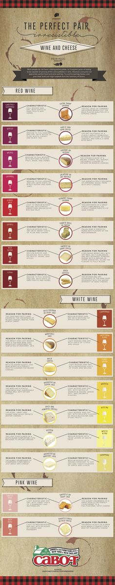 Wine and Cheese Pairings #infographic #wine #vino #cheese