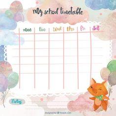 Watercolor school timetable with a fox Free Vector Kids Planner, School Planner, Weekly Planner Printable, School Schedule, Planner Book, Class Schedule, Timetable Planner, School Timetable, Diy Stationery Organizer