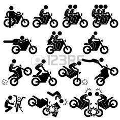 Motorcycle Motorbike Motor Bike Stunt Man Daredevil People Stick Figure Pictogram Icon Stock Vector