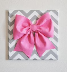 """Large Pink Bow on Gray and White Chevron 12 x12"""" Canvas Wall Art- Baby Nursery Wall Decor- Zig Zag."""