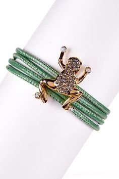 Italian Crystal Frog Green Convertible Bracelet/Necklace