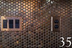 Metal Copper Stainless Steel Penny Round By Sheri Degeer Copper Tile Backsplash, Backsplash Panels, Kitchen Backsplash, Kitchen Counters, Kitchen Island, Penny Round Tiles, Penny Tile, Copper Bathroom, Copper Kitchen