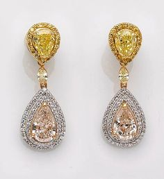 diamond and fancy colored diamond earrings
