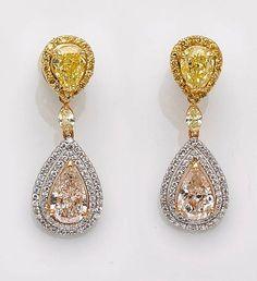 diamond and fancy colored diamond earrings