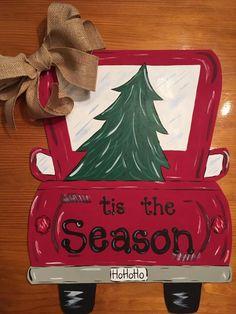 Christmas pick-up truck door hanger