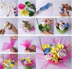 How to DIY Baby Clothes Flower Bouquet I have featured quite a few fabric flowers projects on my site, but this one is definitely a special one. It is a baby clothes flower bouquet in a cute basket! What a sweet baby gift idea! It looks so beautiful… Baby Gifts To Make, Diy Gifts, Cute Baby Gifts, Unique Baby Shower Gifts, Used Baby Clothes, Diy Clothes, Baby Bouquet, Rose Bouquet, Gift Bouquet