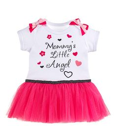 Loving this White & Pink 'Mommy's Little Angel' Skirted Bodysuit - Infant on #zulily! #zulilyfinds