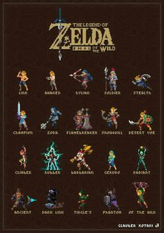 Legend of Zelda Breath of the Wild pixel art > Link's different outfit / armor sets and gear The Legend Of Zelda, Legend Of Zelda Memes, Legend Of Zelda Breath, Breath Of The Wild, Twilight Princess, Piskel Art, How To Pixel Art, Link Pixel Art, Sidon Zelda