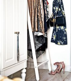 Great idea! Slip a clothes rack into the space between your wardrobe and the wall for all the bits you use so regularly that they never seem to get put away... | live from IKEA FAMILY