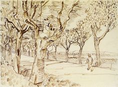 Vincent van Gogh The Road to Tarascon with a Man Walking pencil, pen & ink on paper (25.8 x 35 cm)