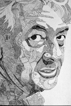 "Doodled portrait of Paul;  30""x20"", ballpoint pen (mostly) on illustration board - by Jason Sho Green, via Flickr"