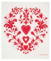 swedish dishcloths red folk hearts  stabo imports  Product Image  #hearts