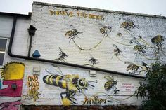A London Street Artist Paints  Louis Masai Michel  Swarms of Bees on Urban Walls to Raise Awareness of Colony Collapse Disorder #artpeople  Submit your Artwork and join our artists @ www.artpeople.net