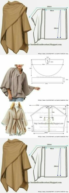 54 Ideas Sewing Dress Patterns Dressmaking For 2019 Sewing Patterns Free, Free Sewing, Clothing Patterns, Dress Patterns, Free Pattern, Poncho Patterns, Fashion Patterns, Poncho Pattern Sewing, Cloak Pattern