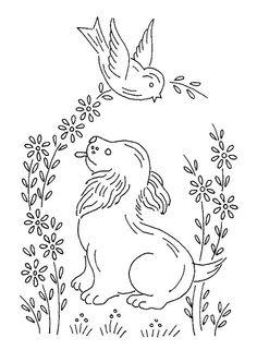 Paper Embroidery Patterns birds and dog 0664 Embroidery Transfers, Paper Embroidery, Hand Embroidery Patterns, Vintage Embroidery, Embroidery Applique, Cross Stitch Embroidery, Machine Embroidery, Embroidery Sampler, Vintage Patterns