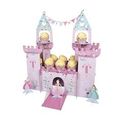 It's time to put on the flowing gown and tiara and head to the princess party castle. This beautiful party centerpiece comes complete with turrets, drawbridge and princess banner as well as princess f