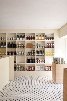 Simple built-in shelving with patterned floor makes brings personality to the Italy restaurant in Copenhagen designed by Norm Architects Italy Restaurant, Restaurant Concept, Restaurant Design, Restaurant Interiors, Cafe Interior, Shop Interior Design, Retail Design, Brewery Interior, Fashion Retail Interior