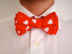 Red Heart Print Bow Tie // Mens Suit Tie // by hellobettybow, Suit And Tie, Heart Print, Mens Suits, Bows, Glamour, Weddings, Red, Handmade, Etsy